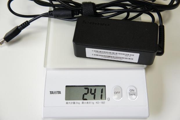 電源アダプター&ケーブルの重さ