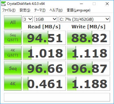 「HP 14-ac100」ストレージ・データ転送速度