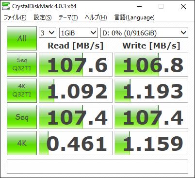 ストレージのデータ転送速度 (HDD)