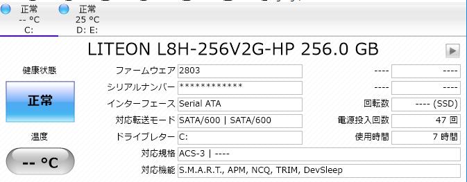ストレージ情報 (SSD)