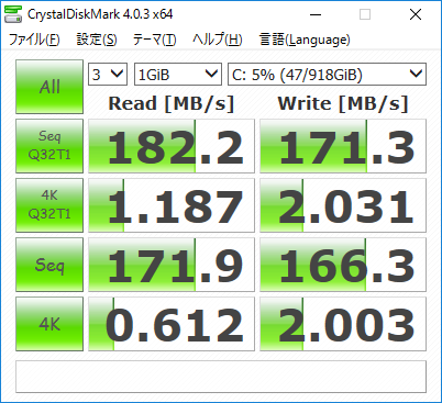 『HP Slimline 260-p050jp』ストレージ・データ転送速度