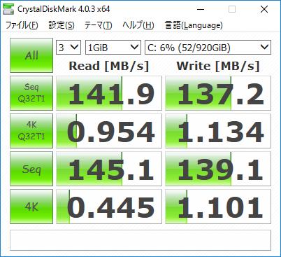 ストレージのデータ転送速度(HP Pavilion 24-a100jp)
