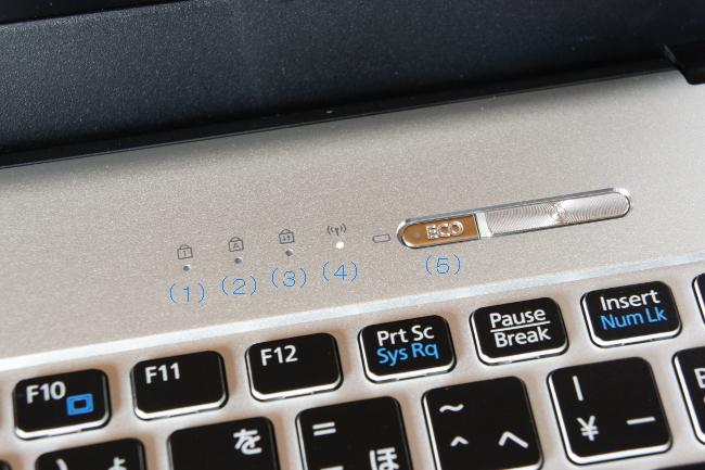 状態 LED (電源ボタン左隣)