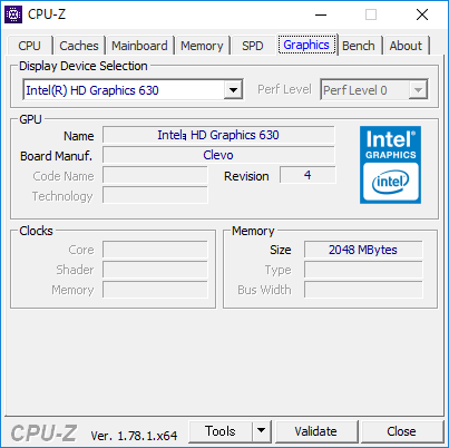 CPU-Z(Graphics CPU内蔵)