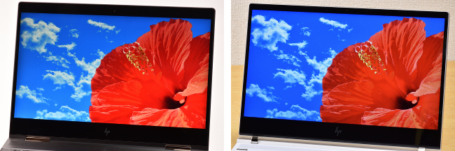 HP Spectre x360 と HP Spectre 13 ディスプレイ比較(斜め・ハイビスカス)