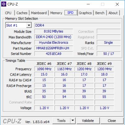 CPU-Z(メモリスロット #1)