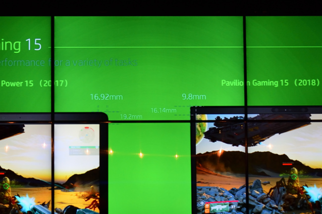 HP Pavilion Gaming 15 従来モデルとのベゼル比較