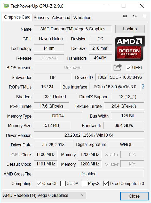 GPU-Z(Graphics CPU内蔵)