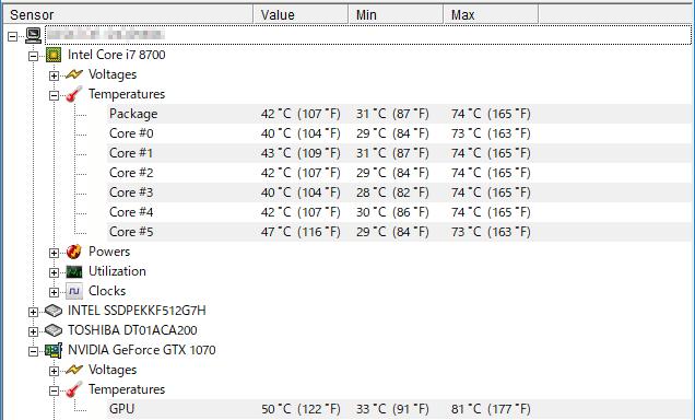 動画エンコード時の CPUとGPU温度
