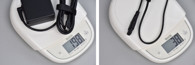 電源アダプターと電源コードの重さ
