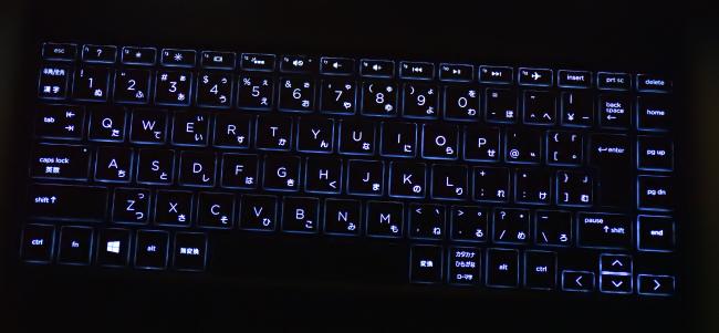 キーボードバックライト(点灯時)