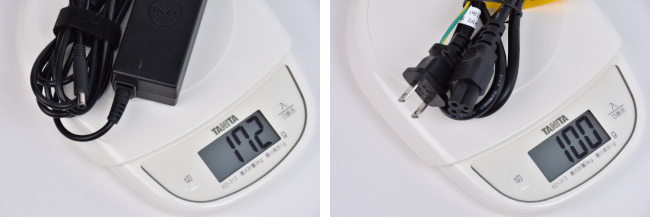 電源アダプター・コードの重さ(プレミアム)