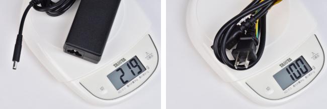 電源アダプター・コードの重さ(プラチナ)