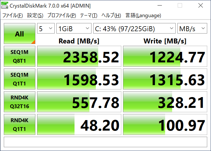 データ転送速度(比較対象機)