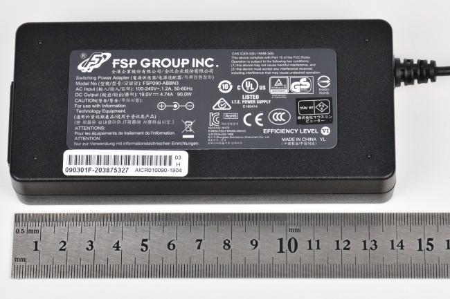 電源アダプターの大きさ(実測)
